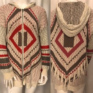Lucca Couture fringed Boho hooded sweater